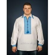 Украинская белая вышиванка из домотканого полотна с голубым геометрическим орнаментом для мужчин (chsv-09-03) фото