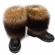 """Унты женские, сибирские Полярки """"Енот канадский (полоскун)"""" укороченные, коричневые: Размер: 37 фото"""