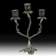 Канделябр на 3 свечи Цветы VR-4082-P фото
