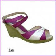 Босоножки на каблуке eva малин/бел фото