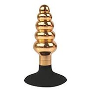 Золотисто-черная анальная пробка-елочка с круглым ограничителем - 10 см. фото