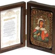 Настольная икона Святая мученица Алла Готфская на мореном дубе фото