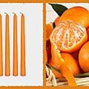 Свеча восковая №60 оранжевая с ароматом мандарина фото