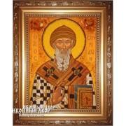 Святитель Спиридон Тримифунтский - Красивая Икона Из Янтаря Ручной Работы Код товара: Оар-195 фото