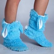 Меховые тапочки Кролики Голубые 101-972646 фото