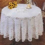 Скатерть ПВХ Crochet D150см белая (1/36) фото