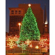 Освещение уличное. Монтаж праздничного освещения, светодиодные гирлянды. Фасадное освещение. фото