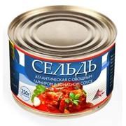 Сельдь атлантическая с овощным гарниром в томатном соусе фото