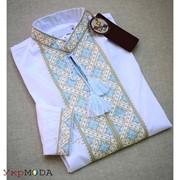 Необыкновенная белая мужская рубашка с вышивкой (Б-28) фото
