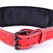 Пояс атлетический кожаный однослойный 120 мм красный фото