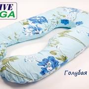 """Подушка для беременных Mega Exclusive """"Голубая с цветами"""" фото"""