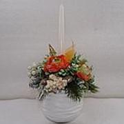Новогодняя композиция со свечой в круглой вазе фото