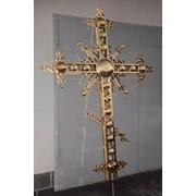 Кресты из нержавеющей стали или меди сплошные, ажурные, продуваемые производства Златовест с напылением под золото (нитрид титана). фото