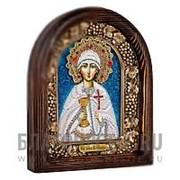 Дивеевские золотошвейные мастерские Варвара, святая мученица, дивеевская икона ручной работы из бисера Высота иконы 17 см фото