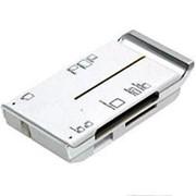 Считыватель карт памяти картридер usb 2.0 Gembird UK-17, CF-XD, TF-microSD, SD-MMC, MS, M2 бело-серебристый фото