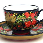 Чайная пара из фарфора Хохлома фото