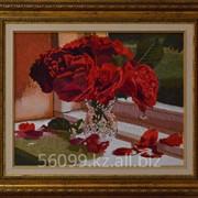 """Картина """"Красные розы в вазе"""" 40х50 фото"""
