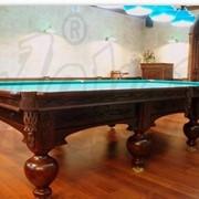 Бильярдный стол «Леман Люкс 999» с элементами резьбы фото