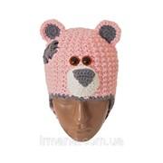 Шапка детская Мишка розовая фото