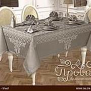 Скатерть прямоугольная с салфетками Karna VIP COTTON жаккард серый 160х220 фото
