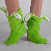 Махровые тапочки Зайчики Зеленые 101-972653 фото