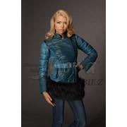 Кожаная куртка с мехом енота со вставками плащевки. Рукава и мех отстегиваются (мод. 7309), Куртки с мехом опт фото