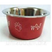 Миска для собак цветная н/ж с рисунком 25 см. 2,6 л. фото