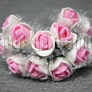 Букет бело-розовых розочек с фатином из латекса 2 см 3531 фото