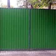 Распашные ворота из профнастила фото