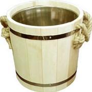 Запарник для бани и сауны деревянный с нержавеющей вставкой на 20 литров фото