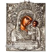 Казанская Икона Божьей Матери - Греческая Икона В Окладе Из Чистого Серебра Код товара:ОPA-88 фото