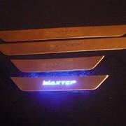 Изготовление именных порогов с подсветкой в автомобиль фото