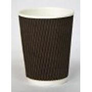 Стакан бумажный 2-х слойный 250мл Гофрированный коричневый (500шт/кор) фото