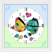 """Набор для вышивания """"Часы. Поцелуй рыбок"""" G007 фото"""