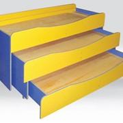 Трехъярусная кровать купить, Кровать детская трехъярусная без матраса 1550х680х820 мм, Код: 0833 фото