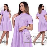 Платье женское с короткими рукавами на патиках (4 цвета) - Сиреневый НВ/-716490/1 фото