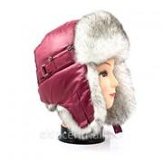 Свекольная шапка ушанка для девушки, мех Соболь фото