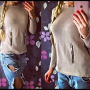 Женский стильный свитер с молниями, в расцветках фото