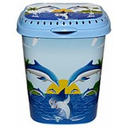 Корзина для белья 55л. с крышкой (Дельфин) фото