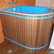 Купель для бани в деревянной отделке 1000х800х900 мм фото