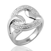 Кольцо с бриллиантами из белого золота 585 пробы. фото