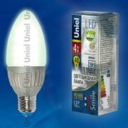 Лампа ALUMINIUM SMILE серия LED-C37-4W/WW/E27/FR ALS01SL пластик фото