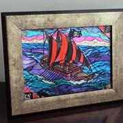 Витражная картина «Пиратская галера» фото