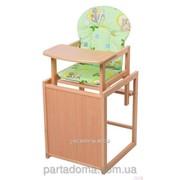 Стул-трансформер для кормления For kids с мдф столешницей и с сиденьем из ткани, бук светлый светлое дерево, зеленый с рисунком фото