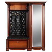 Прихожая Лувр с одностворчатым шкафом с зеркалом и полками, вешалкой и банкеткой-обувницей EL7410M/R Or Black фото