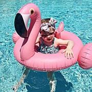 Надувной розовый круг фламинго детский 63см фото