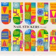 Новогодние водные наклейки для ногтей T2-162 фото