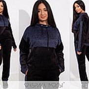 Теплый велюровый спортивный костюм женский LA/-003 - Синий фото