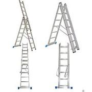 Алюминиевая трехсекционная универсальная профессиональная лестницa, 9312 фото