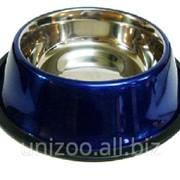 Миска для собак цветная ст. н/ж 25,5 см. 900 мл. фото